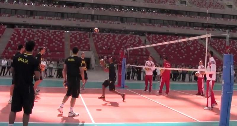 Trening siatkarzy na Stadionie Narodowym (fot. youtube)