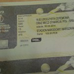 Bilet na mecz otwarcia mistrzostw świata w siatkówce 2014 (fot. JG)