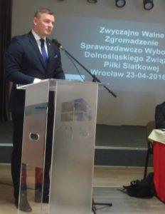 Paweł Papke - prezes PZPS - nie krył specjalnie, kogo przyjechał poprzeć, fot. JG Wybory prezesa DZPS 2016